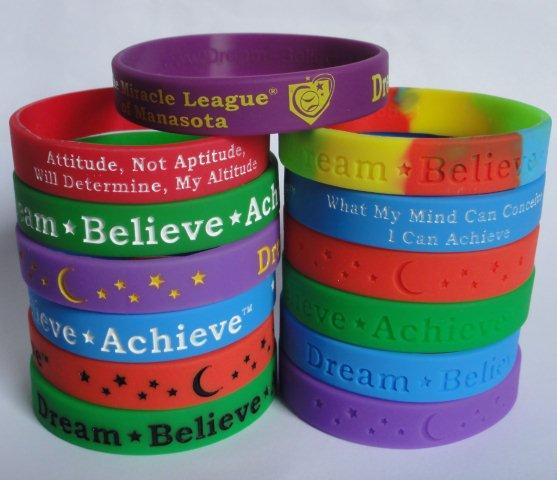Dream-Believe-Achieve come in different colors and either ink filled or debossed with motivational phrases